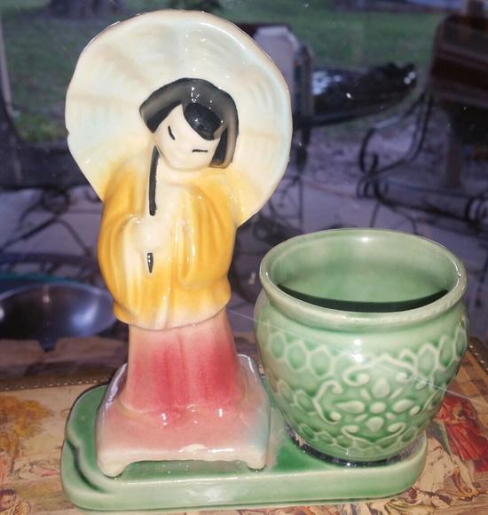 Vintage Geisha Girl Planter